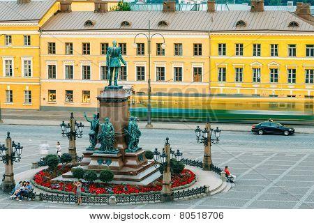 Statue Of Emperor Alexander II Of Russia On Senate Square In Hel