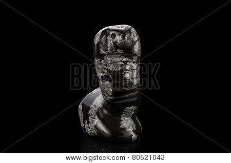 Carved snowflake obsidian snake statuette on black background poster