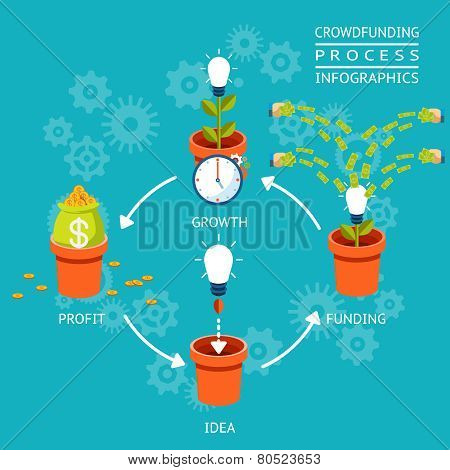 Crowdfunding process infographics