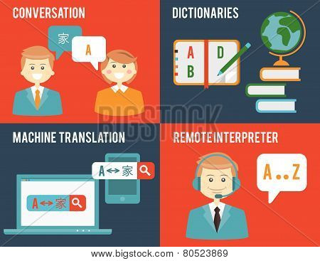 Translation and dictionary concepts in flat style