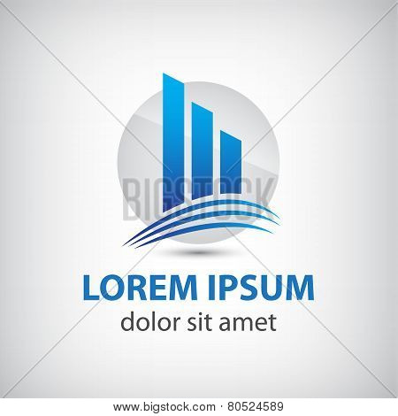 vector abstract blue icon, logo building silhouette