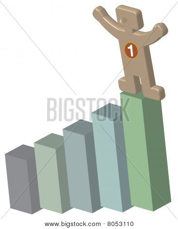3d human on top of a bar chart