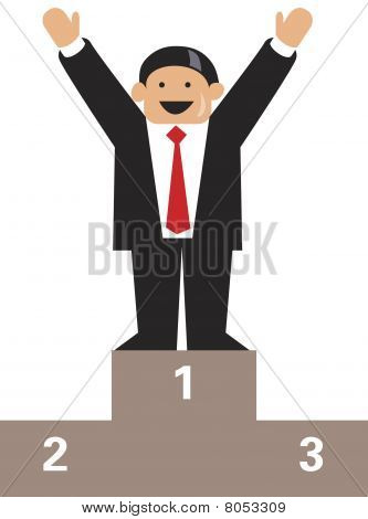 Businessman stands on the podium as number one