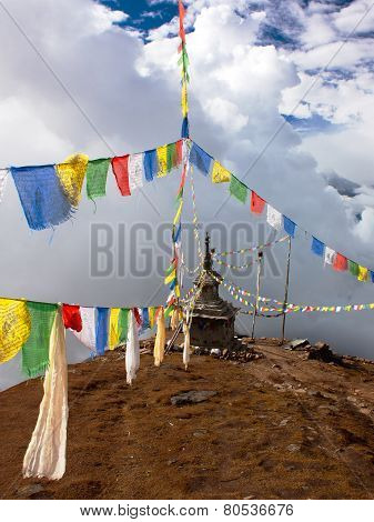 Ganesh Himal With Stupa And Prayer Flags