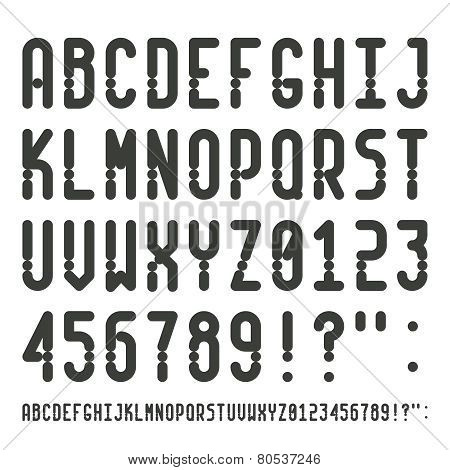 Vector Simple Narrow Outline Font With Uppercase Letters Of Latin Charset Punctuation Marks And Numb