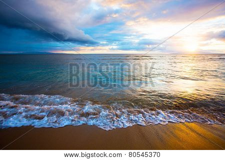 Sunrise On Beach On Maui