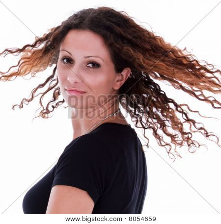 Curly Hair Flying Around