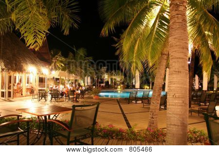 Tropical Hotel pool at night