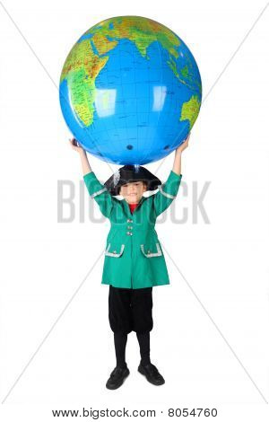 Little Boy In Historical Dress Holding Big Inflatable Globe Over His Head Isolated