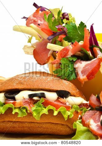 Tasty Fresh Sandwich And Shawarma With Green Lettuce, Tomatoes, Ham And Olives, Lavash, Pita, Appeti