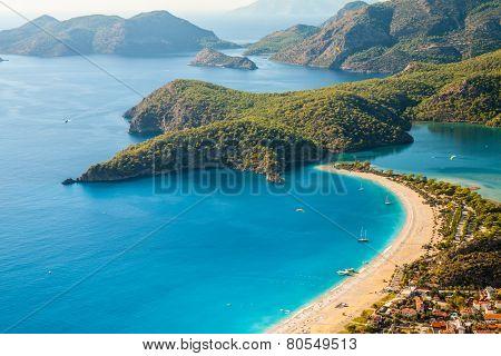 Oludeniz Lagoon In Sea Landscape View Of Beach