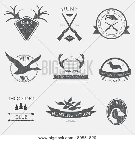 Set of vintage hunting  labels and design elements