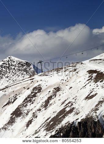 Off-piste Slope And Chair-lift In Little Snow Year