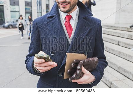 Businessman Outside Ferragamo Fashion Show Building For Milan Men's Fashion Week 2015
