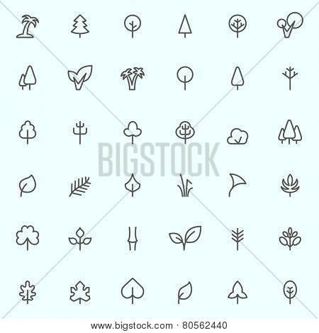 Trees and leaf icons, simple and thin line design