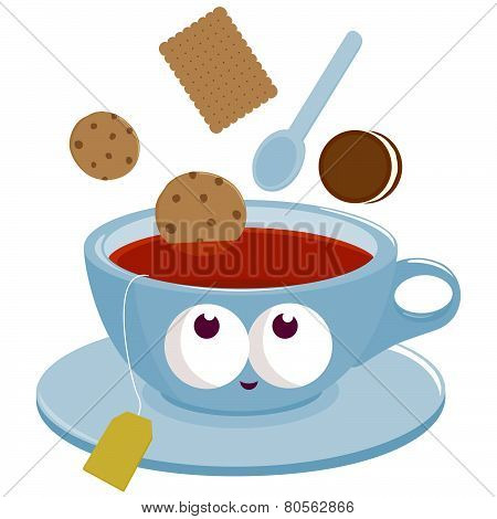 Cup of Tea and cookies dunking into tea