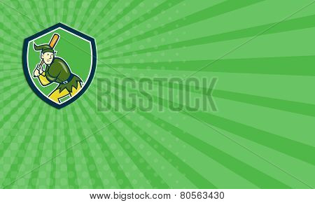 Business Card Elf Baseball Player Batting Shield Cartoon