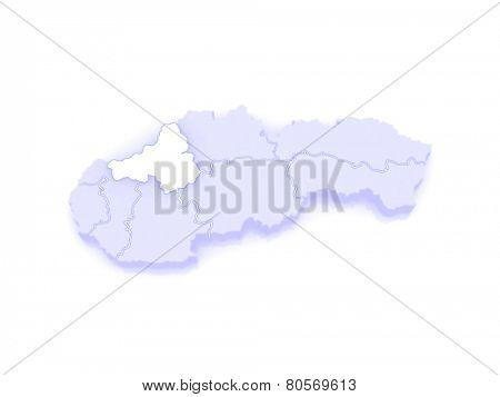 Map of Trencin Region. Slovakia. 3d