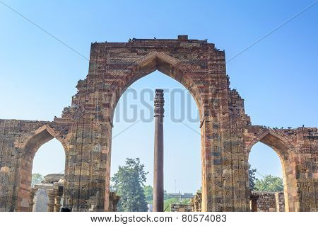 The Iron Pillar located in Qutub Minar premise Delhi, India