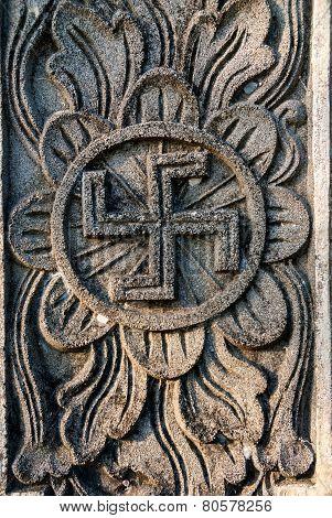 Spiritual Hindu Symbol -swastika On The Temple
