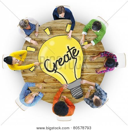 Aerial View People Creativity Breaking New Ground Concepts