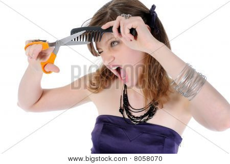 Beautiful Young Girl Does Her Hair.