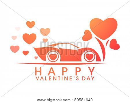 Happy Valentines Day celebration with stylish car and hearts on white background.