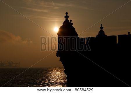 Europe, Portugal, Lisbon-silhouette of Belem Tower detail  at sunset, Lisbon landmark