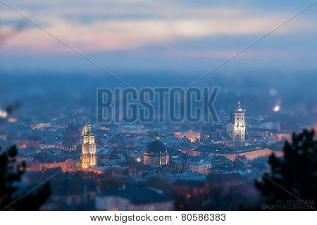 Night scenery of Lviv