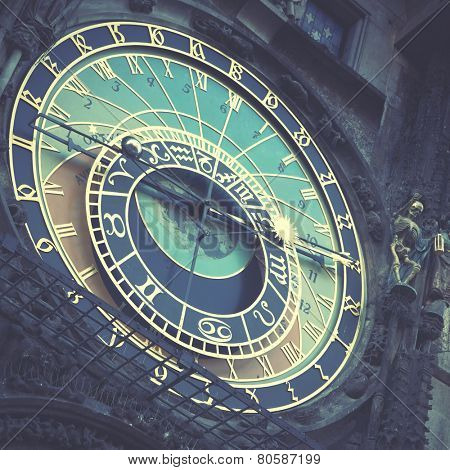 Old astronomical clock in Prague (The Horologe), Czechia. Instagram style filtred image