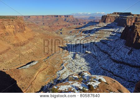 Shafer Canyon in Canyonlands National Park Utah in winter poster