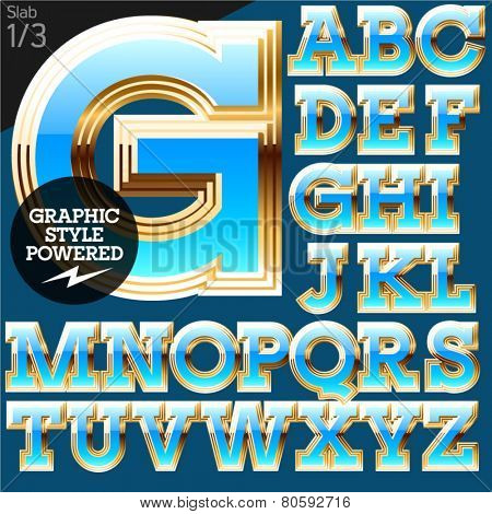 Blue alphabet with golden border. Stab. File contains graphic styles available in Illustrator. Set 1
