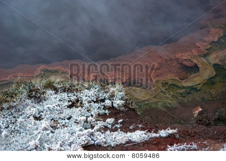 Hot Geyser Pool And Snow Covered Grass