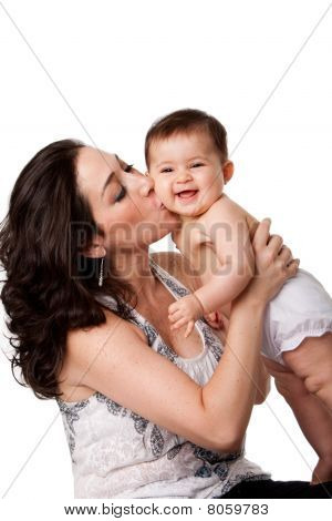 Mother Kissing Happy Baby On Cheek