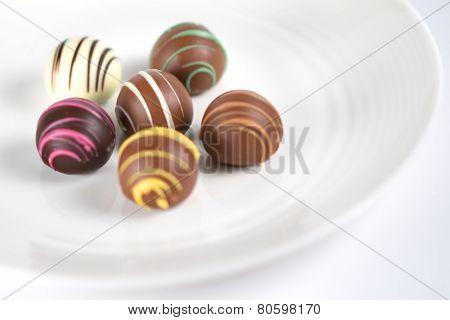 Chocolate Truffles On Dish