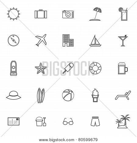 Summer Line Icons On White Background