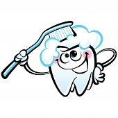 Healthy cute cartoon tooth character smiling happily holding a dental tooth brush and brushing itself poster