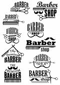 Barber shop black emblems and logo with lush and thin curled mustache, scissors and combs in retro style for haircut and shave salon design poster