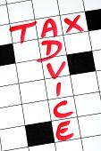 Write the words Tax Advice in the crossword puzzle poster