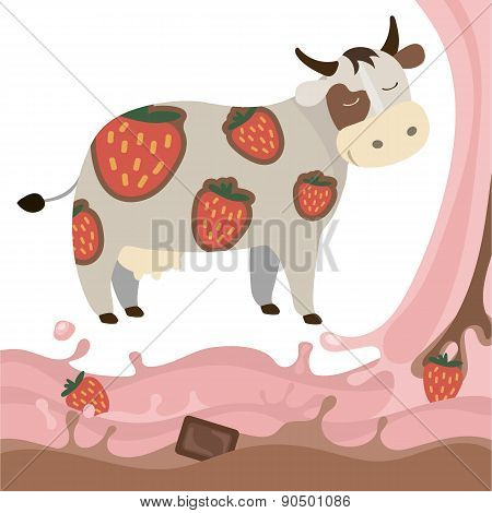 Fruit Strawberry Chocolate Milk Cow Milk Splash Vector Illustration