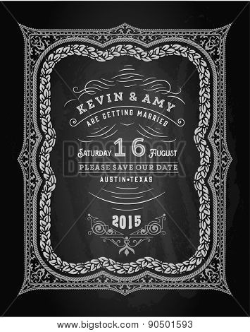 Vector. Wedding invitation vintage card. Freehand drawing on the chalkboard