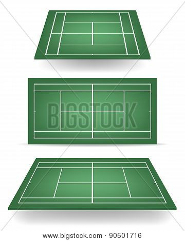 Set Of Green Tennis Courts With Perspective