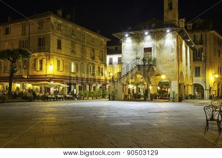 Orta main square, night view. Color image