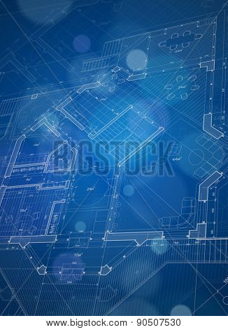 Architecture design: blueprint house plan & blue technology background - vector illustration