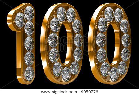 Golden 100 one hundred numeral incrusted with diamonds. Other numbers are in my portfolio poster