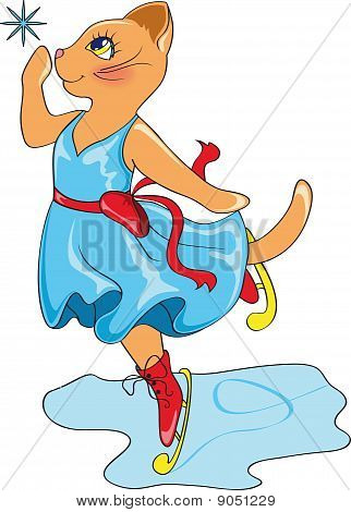 beautiful cat in blue dress on skates poster