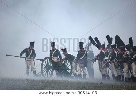 TVAROZNA, CZECH REPUBLIC �¢?? DECEMBER 3, 2011: Re-enactors uniformed as Russian soldiers attend the re-enactment of the Battle of Austerlitz (1805) near Tvarozna, Czech Republic.