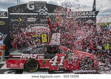 Richmond, VA - Apr 26, 2015:  Kurt Busch (41) celebrates in victory lane after winning the Toyota Owners 400 race at the Richmond International Raceway in Richmond, VA.