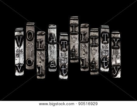 Volatility concept with bumpy letter pattern on black poster