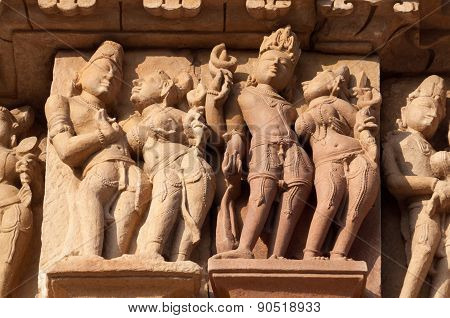 Stone carved erotic sculptures on on JainTemples. Eastern temples group of Khajuraho. Madhya Pradesh. India. Built around 950-1100 poster
